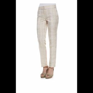 Tory Burch White Zipper Fly Pleated Flare Leg